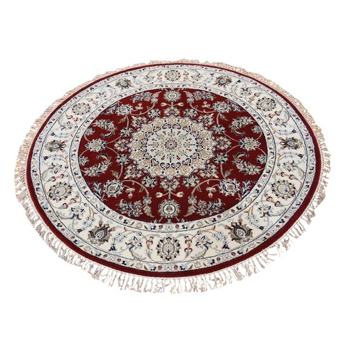 Wool And Silk 250 Kpsi Hand Knotted Red Nain Round Hand Knotted Oriental Rug