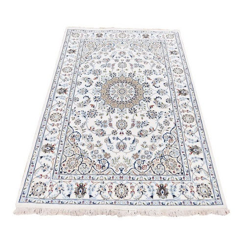 Ivory Nain Wool And Silk 250 KPSI Hand Knotted Oriental Rug
