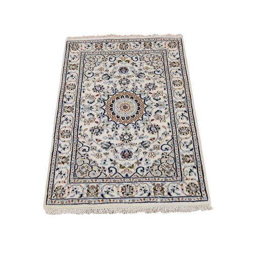 Wool And Silk Ivory Nain 250 KPSI Hand Knotted Oriental Rug