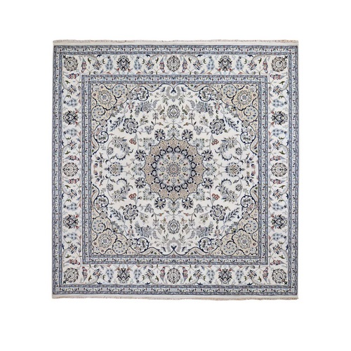Ivory Square Nain Wool And Silk 250 KPSI Hand Knotted Oriental Rug