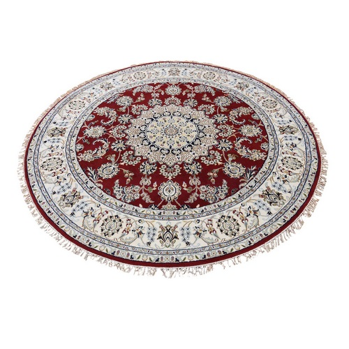Red Round Nain Wool And Silk 250 KPSI Hand Knotted Oriental Rug