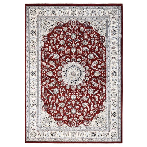 Wool And Silk Red Nain 250 KPSI Hand knotted Oriental Rug