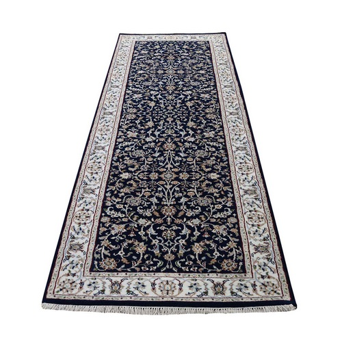 Blue Runner Nain Wool And Silk All Over Design 250 KPSI Hand Knotted Oriental Rug