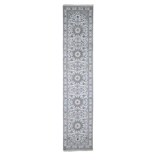 Ivory Runner Nain Wool And Silk 250 KPSI Hand Knotted Oriental Rug