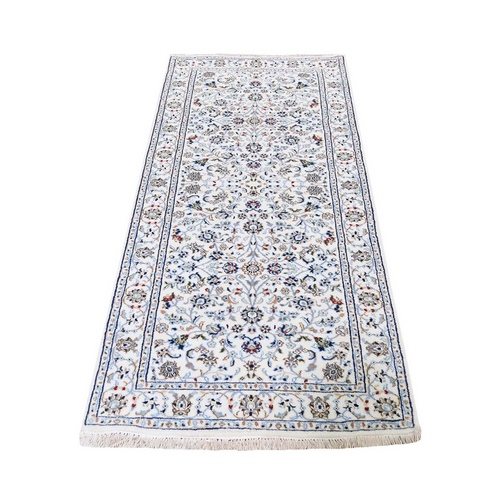 Ivory Runner Nain Wool And Silk All Over Design 250 KPSI Hand Knotted Oriental Rug