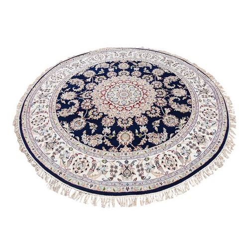 Blue Round Nain Wool And Silk 250 KPSI Hand Knotted Oriental Rug