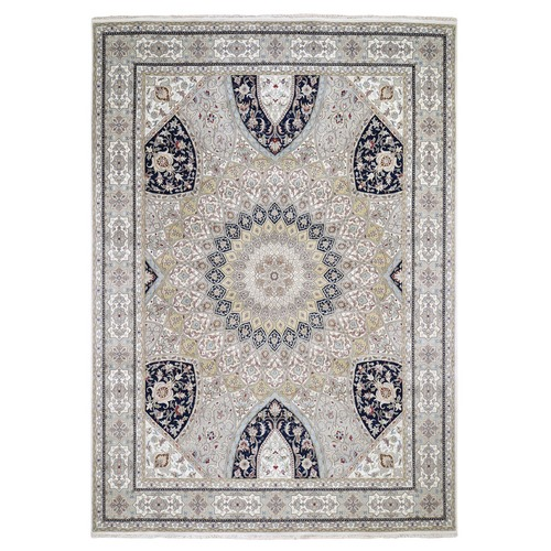 Gray Nain With Gumbad Design Wool and Silk Hand-Knotted Oriental
