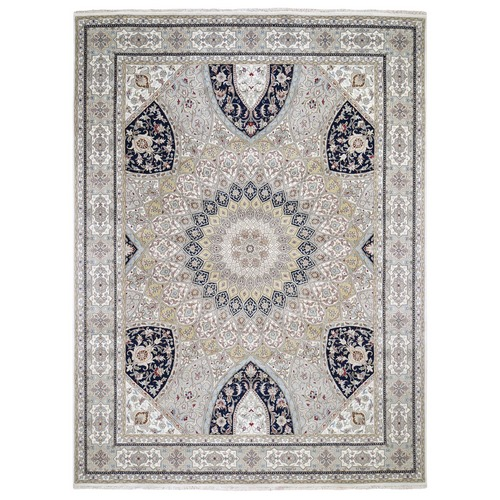 Gray Nain With Gumbad Design Wool and Silk Hand Knotted Oriental