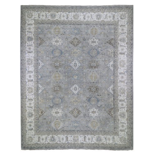 Oversize Karajeh Design Pure Wool Gray Hand Knotted Oriental