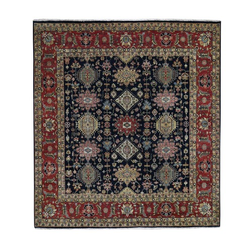 Square Black Hand Knotted Karajeh Design Pure Wool Oriental Rug