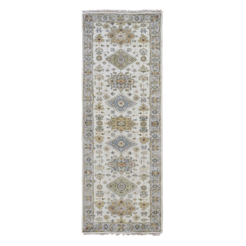 Ivory Karajeh Design Pure Wool Hand Knotted Runner Oriental Rug