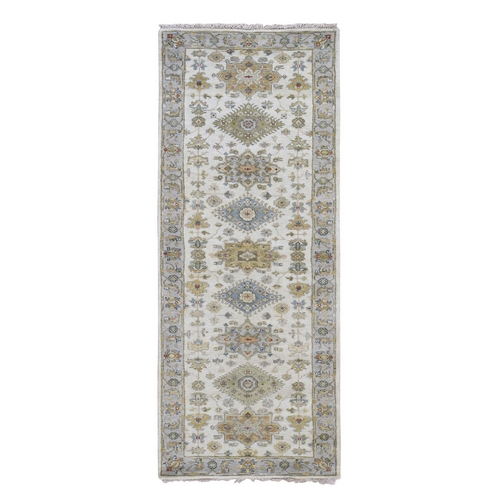 Ivory Karajeh Design Pure Wool Hand Knotted Oriental Rug