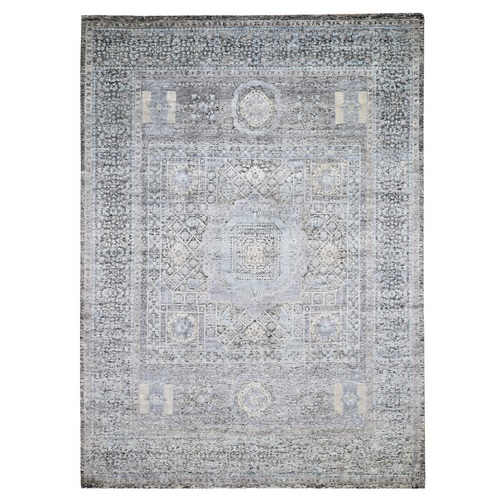 Gray Silk With Textured wool Mamluk Design Hand knotted Oriental