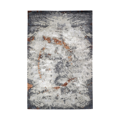 Hi-Low Pile Abstract Design Wool And Silk Hand Knotted Oriental