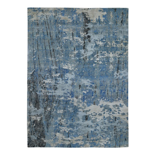Blue Oceanic Abstract Wool And Pure Silk hand Knotted Oriental