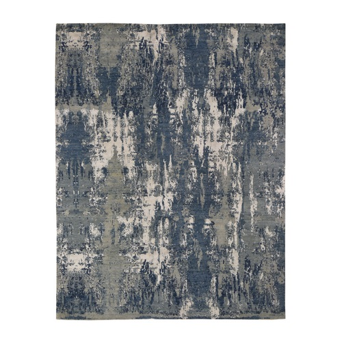 Blue-Gray Abstract Design Wool And Pure Silk Hand Knotted Oriental