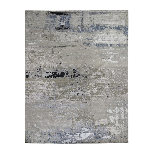 Hand Knotted Gray Abstract Design Wool and Silk Hi-Low Pile Oriental