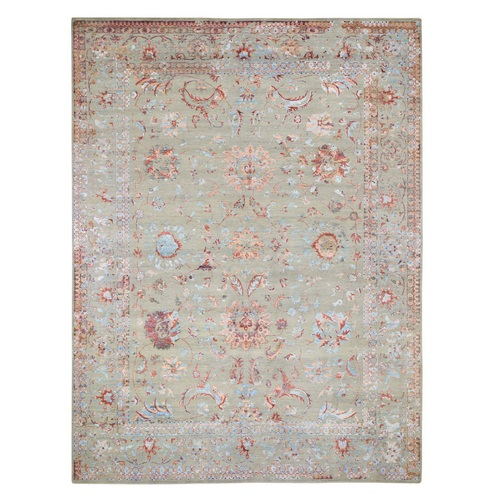 Colorful Wool And Silk Erased Persian Design Hand Knotted Oriental