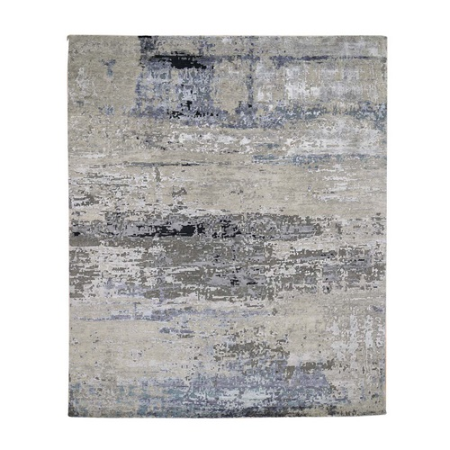 Hand Knotted Gray Abstract Design Wool and Silk Oriental