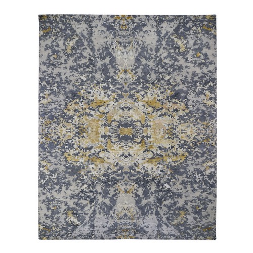 Abstract Design Wool And Silk Hand Knotted Oriental Rug