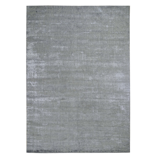 Gray Fine jacquard Hand-Loomed Modern Wool And Silk Oriental
