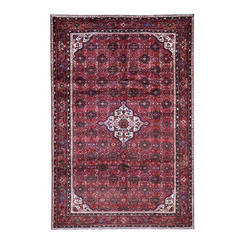 Red New Persian Hamadan Pure Wool Hand Knotted Oriental