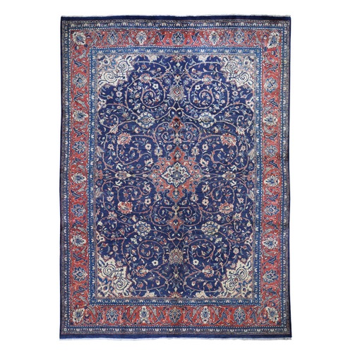 Navy Vintage Persian Mahal Pure Wool Hand Knotted Oriental