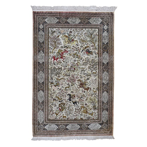 Ivory Vintage Persian Silk Qum 500 KPSI Hunting Design, poetry Hand Knotted Oriental Rug