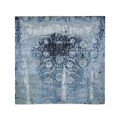 Square Wool And Silk Persian Tabriz Erased Design Hand Knotted Oriental