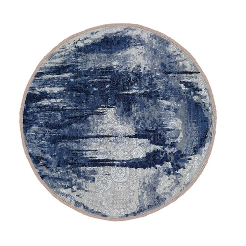 Round Wool And Silk Shibori Design Tone On Tone Hand Knotted Oriental Rug