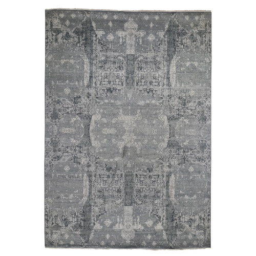 Gray Wool And Pure Silk Jewellery Design Hand Knotted Oriental Rug