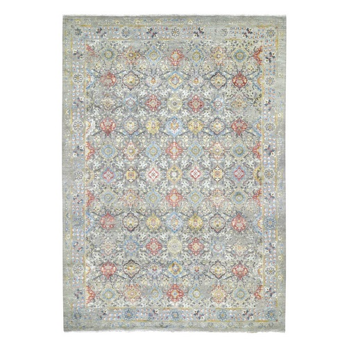 THE SUNSET ROSETTES Pure Silk and Wool Hand Knotted Oriental Rug
