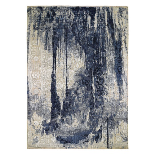 Wool And Silk Shibori Design Tone On Tone Hand Knotted Oriental Rug