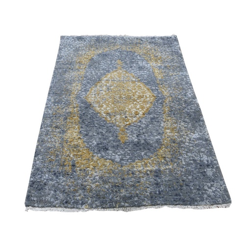 Gray-Gold Persian Design Wool And Pure Silk Hand Knotted Oriental Rug
