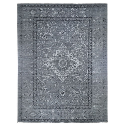 Gray Oversized Broken Persian Erased Design Silk With Textured Wool Hand Knotted Oriental