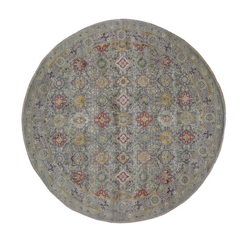 THE SUNSET ROSETTES Pure Silk and Wool Hand Knotted Oriental Round Rug