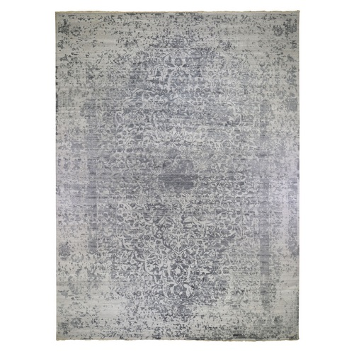 Oversized Silver-Dark Gray Erased Persian Design Wool and Pure Silk Hand Knotted Oriental