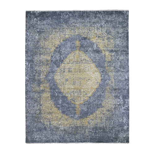 Gray Gold Persian Design Wool And Pure Silk Hand Knotted Oriental Rug