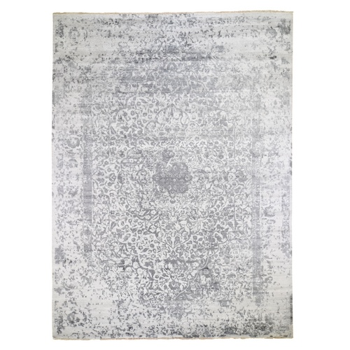 Silver-Dark Gray Erased Persian Design Wool and Pure Silk Hand Knotted Oriental Rug