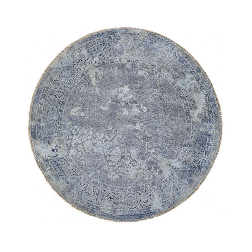 Round Broken Persian Design With Pure Silk Hand Knotted Oriental Rug