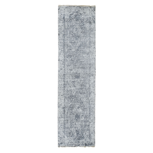 Silver-Dark Gray Erased Persian Design Runner Wool and Pure Silk Hand Knotted Oriental Rug