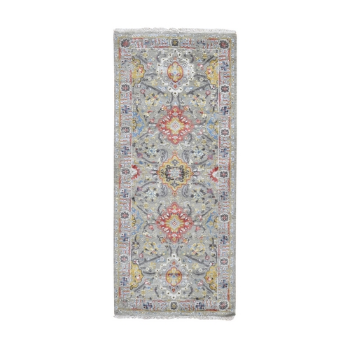 THE SUNSET ROSETTES Wool And Pure Silk Runner Hand Knotted Oriental Rug