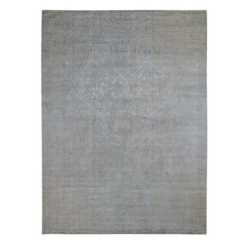 Gray Fine jacquard Hand Loomed Tone On Tone Wool And Silk Oriental