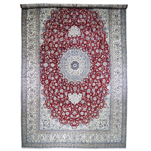Mansion Size Wool And Silk 250 KPSI Persian Nain Hand Knotted Oriental