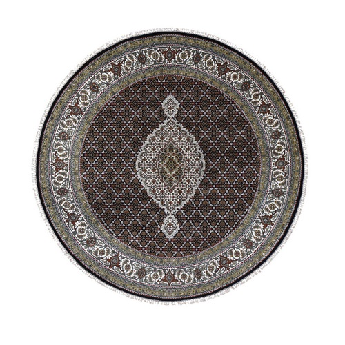 Round Black Tabriz Mahi Wool and Silk Hand Knotted Oriental Rug