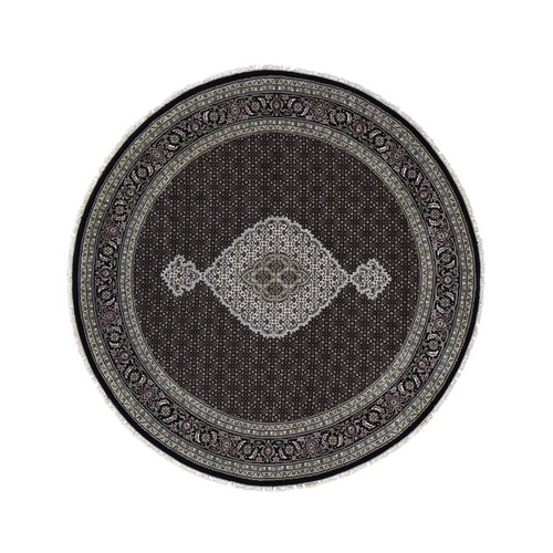 Black Wool And Silk Tabriz Mahi Design Round Hand Knotted Oriental Rug