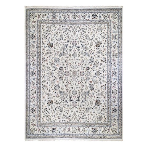 Oversized Ivory Nain Wool And Silk All Over Design 250 KPSI Hand Knotted Oriental Rug