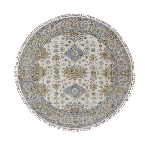 Round Ivory Karajeh Design Pure Wool Hand Knotted Oriental Rug