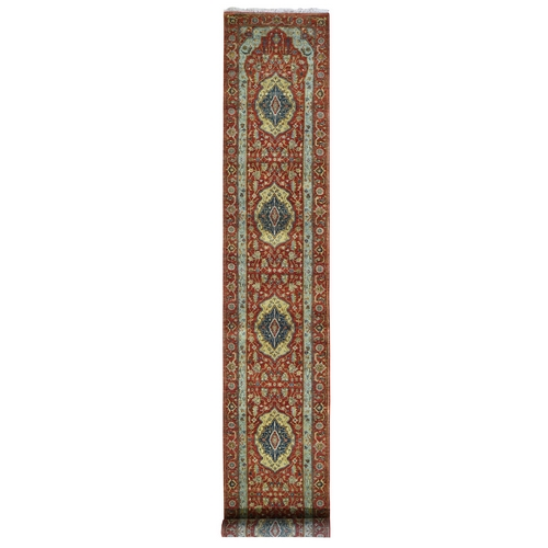 Red Antiqued Heriz XL Runner Pure Wool Hand Knotted Oriental