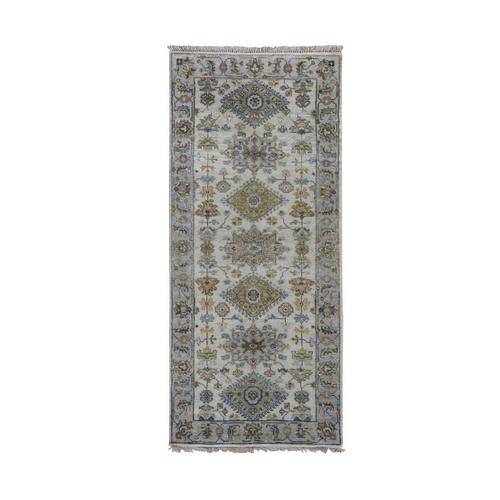 Ivory Karajeh Design Pure Wool Runner Hand Knotted Oriental Rug